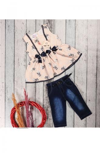 Kız Çocuk Yazlık Kot Kaprili Tunik Takım 5052-05 Yavruağzı