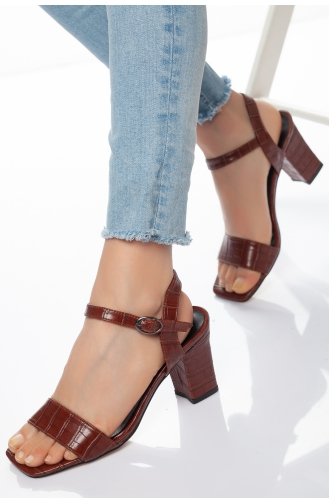 Kadın Topuklu Sandalet AXY0067-01 Kahverengi 0067-01