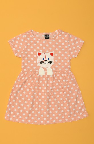 Selfie Kız Çocuk Puanlı Süprem Kedi Nakış Elbise C75862-04 Somon