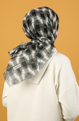 Siyah Beyaz Desenli Flamlı Eşarp 11536-02 Siyah Beyaz 11536-02