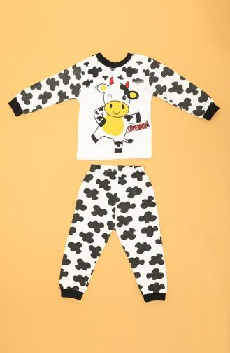 Weiß Kinder und Baby-Pyjamas 80577-01