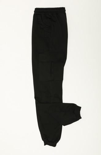 Lemoon Kız Kargo Cep Ribanalı Alt C80489-01 Siyah