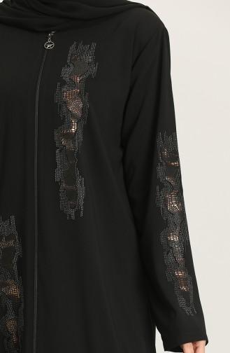 Büyük Beden Pullu Fermuarlı Ferace 1581-04 Siyah