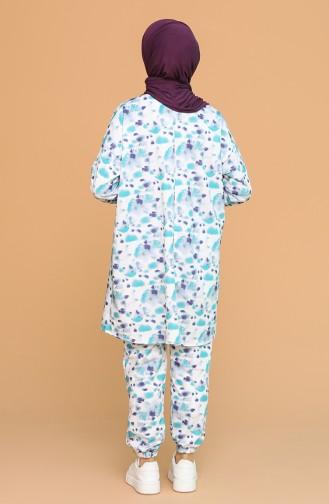 İki İplik Tunik Pantolon İkili Takım 7004A-01 Turkuaz 7004A-01