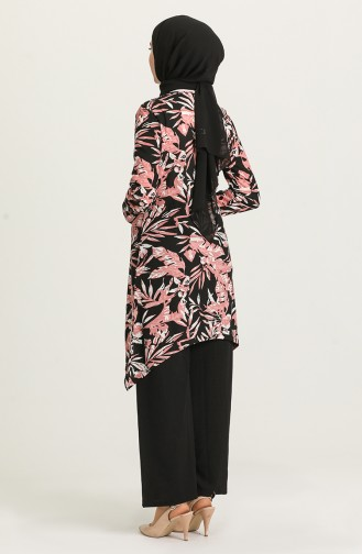 Desenli Tunik Pantolon İkili Takım 1434A-03 Pudra