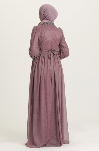 Dark Lilac İslamitische Avondjurk 4871-07