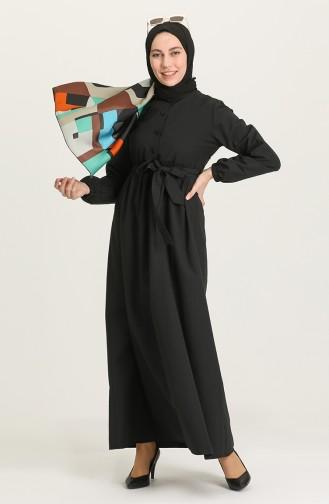 Black Hijab Dress 6890-04