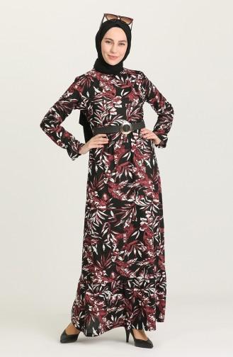 Kemerli Desenli Elbise 7021-03 Mürdüm