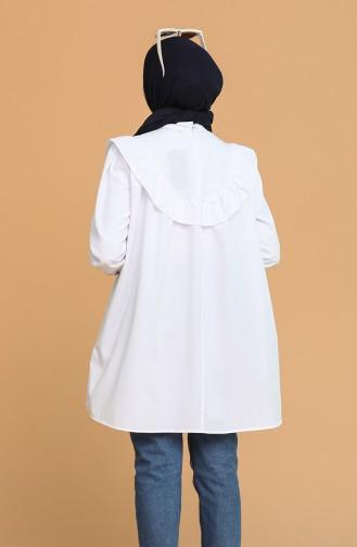 Pelerinli Tunik 1515-02 Beyaz