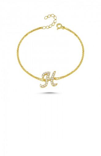 Gümüş Harfli Bileklik İtalik Altın Rengi H Harfi Standart Blv00139 3387 Hharfı 1000321171572