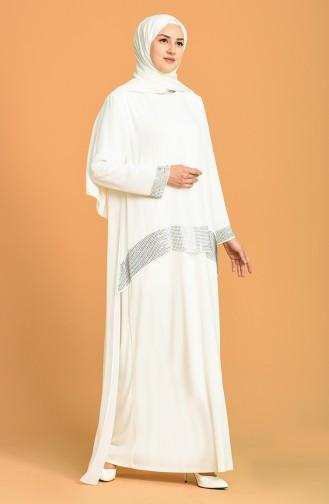 Ecru Hijab Evening Dress 6301-04