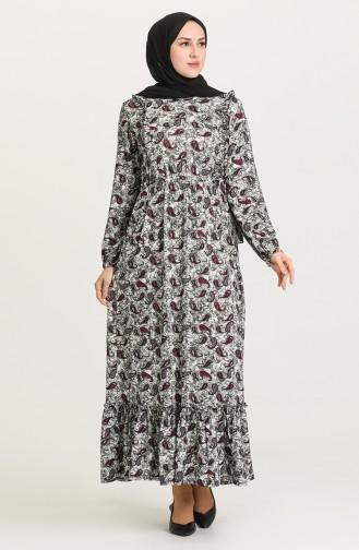 Plum Hijab Dress 4576A-02