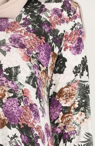 Çiçek Desenli Elbise 2314-01 Lila