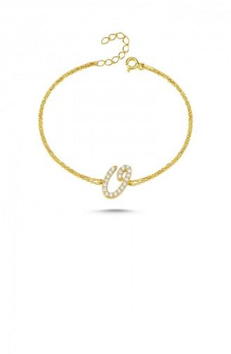 Gümüş Harfli Bileklik İtalik Altın Rengi O Harfi Standart Blv00139 3394 Oharfı