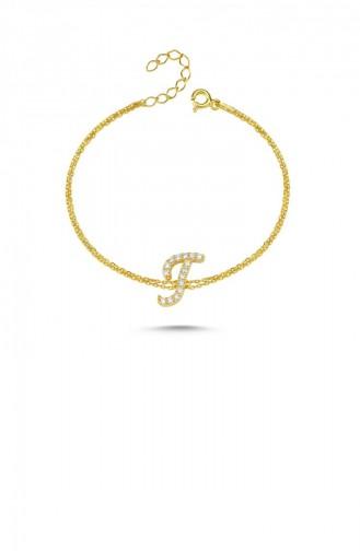 Gümüş Harfli Bileklik İtalik Altın Rengi T Harfi Standart Blv00139 3399 Tharfı