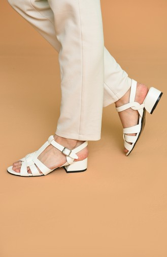 Bayan Sandalet Y5-15-04 Beyaz Cilt