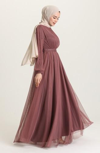 Dusty Rose İslamitische Avondjurk 5514-02