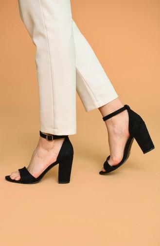 Bayan Topuklu Ayakkabı Y11-13-03 Siyah Süet 11-13-03