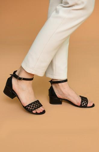 Bayan Yazlık Ayakkabı Y5-1-05 Siyah Kroko Siyah Hasır