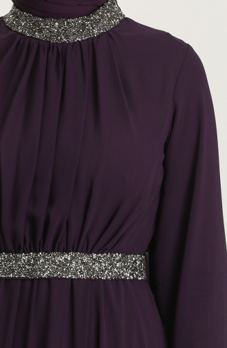 Dark Purple Hijab Evening Dress 5339-12