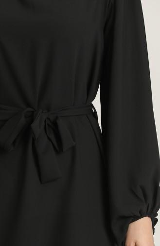 Yakası Ve Kolu Büzgülü Elbise 3254-04 Siyah