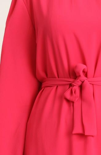 Yakası Ve Kolu Büzgülü Elbise 3254-05 Açık Fuşya 3254-05