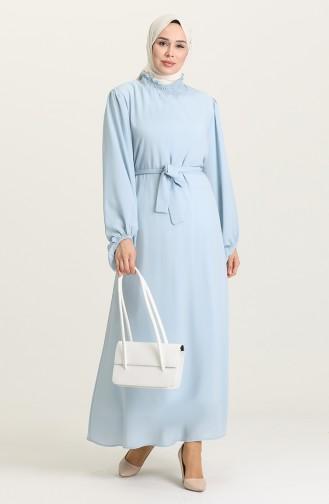 Baby Blue Hijab Dress 3254-06