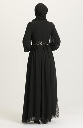 Black Hijab Evening Dress 5408A-01