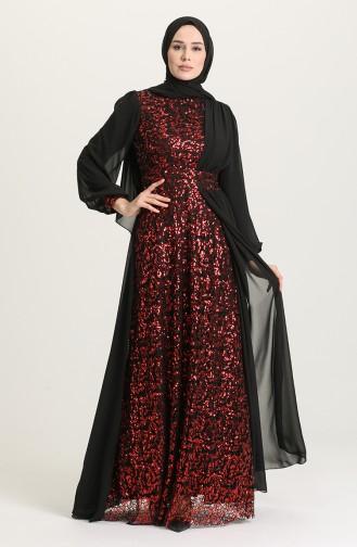 Pullu Abiye Elbise 5408A-02 Siyah Bordo