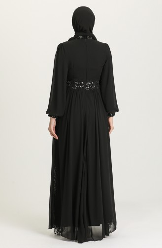 Pullu Abiye Elbise 5408A-03 Siyah Gümüş