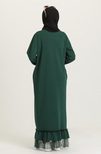 Etek Ucu Tül Detaylı Elbise 4093-01 Zümrüt Yeşili