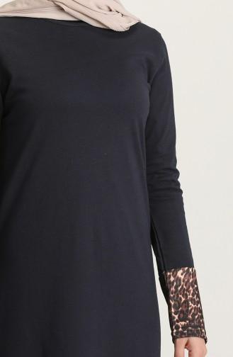 Navy Blue Hijab Dress 4172-04