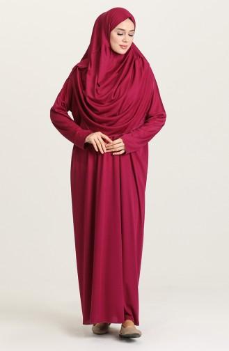 Sefamerv Large size Practical Prayer Dress With Bag 0900B-01 Fuchsia 0900B-01