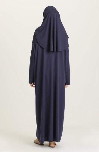 صفامروة فستان صلاة بتصميم سادة و حقيبة بمقاسات كبيرة0900B-02 لون كحلي 0900B-02