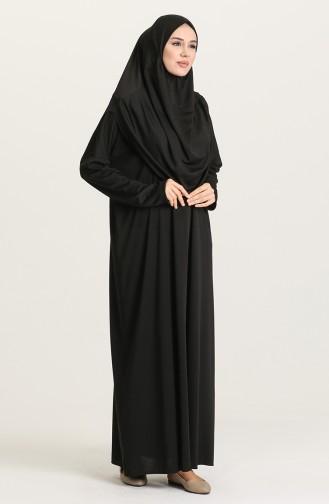 Sefamerve Practical Prayer Dress with Bag 0900-01 Black 0900-01