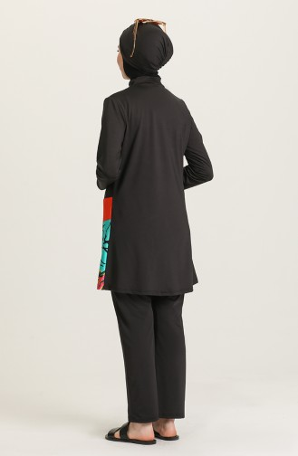 Schwarz Hijab Badeanzug 02167B-01