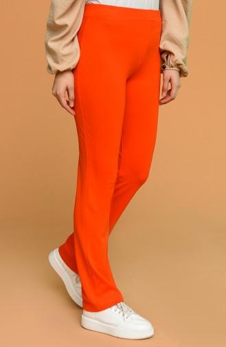 Beli Lastikli Düz Paça Pantolon 6402-03 Oranj