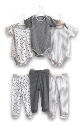 Staryu Baby Kısa Kollu Badi Ve Tekalt 6 Adet 1900-01 Beyaz Gri 1900-01