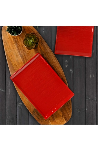 Keramika Kırmızı Doğaltaş Kayık Tabak 25 Cm 2 Adet ST628402F506A0000000ATT300-01 Kırmızı