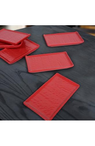Keramika Mat Kırmızı Doğaltaş Kayık Tabak 15 Cm 6 Adet ST628106F975A0000000AET100-01 Kırmızı