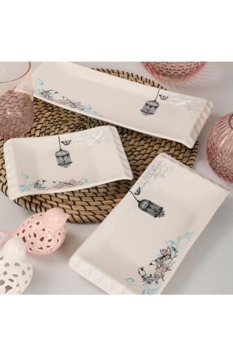 Keramika Retro Kayık Tabak 18-24-33 Cm 3 Adet ST503003F030A5191000AKYK00-01 Krem