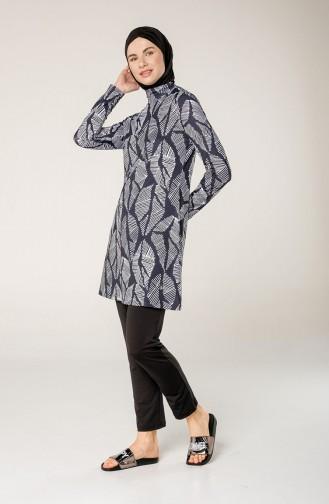 Maillot de Bain Hijab Noir 7030-01