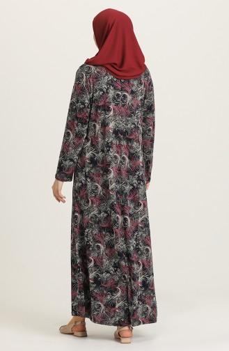 Claret Red Hijab Dress 4847-03