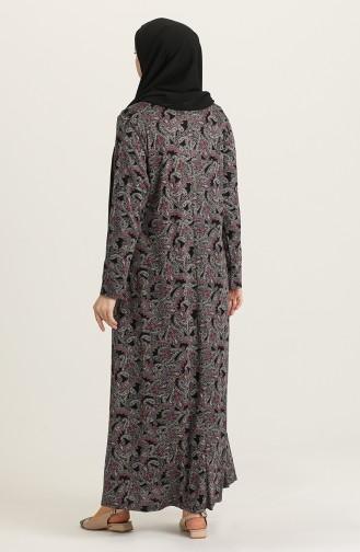 Büyük Beden Desenli Elbise 4847A-01 Siyah Pembe