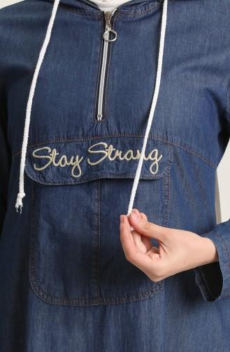 Navy Blue Hijab Dress 6203-01