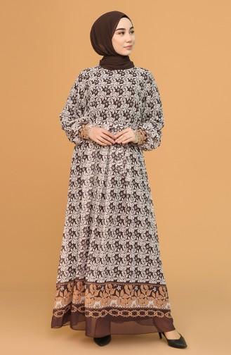 Brown Hijab Dress 21Y3137401-01