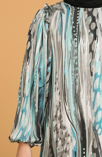 Balon Kollu Desenli Şifon Elbise 21Y3137900-01 Mint Yeşili