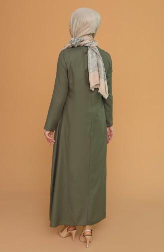 Kolyeli Elbise 7070-02 Yeşil