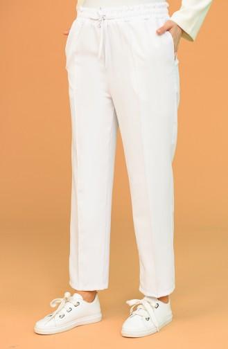 Cepli Düz Paça Pantolon 5372-02 Beyaz