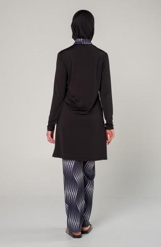 Schwarz Hijab Badeanzug 7100-01